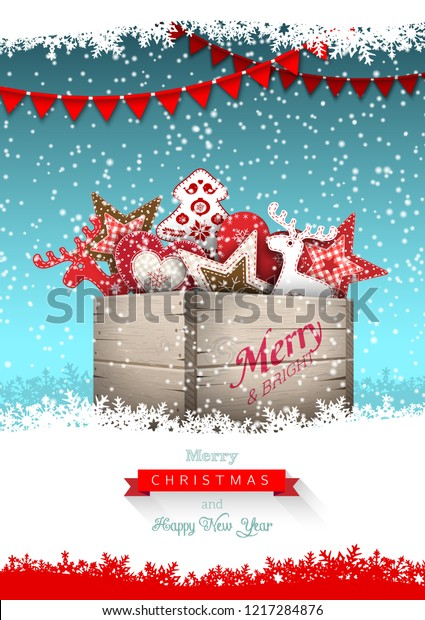Group of Christmas ornaments in old wooden box, on blue background with abstract snowflakes, holidays theme, vector illustration, eps 10 with transparency