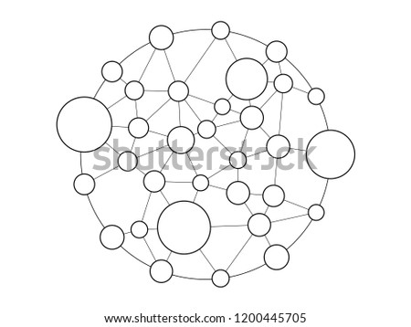 Group Circle Line Connection Between Them Stock Vector Royalty Free