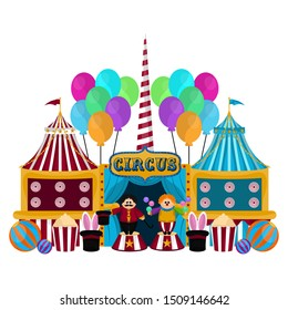Group of circus tents with animal tamers and balloons - Vector illustration