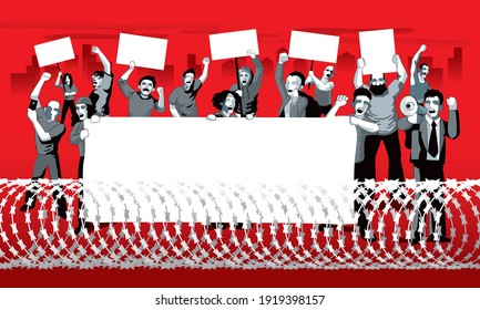 A group of city protestors surrounded by barbed wire fences. With mega phone, banner and signs.  Vector.