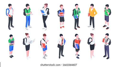 Group of college and university students. Young girls and boys with backpacks and books isolated on white background