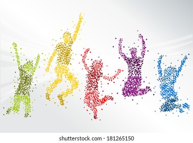 Group of colorful happy people jumping