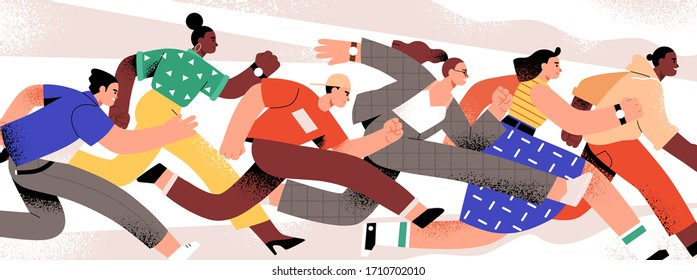 Group of colorful runners people isolated on white background. Cartoon jogging male and female in motion vector flat illustration. Person runner race lifestyle, competition between man and woman