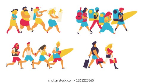 Group of colorful young tourists walking carrying suitcases, backpacks, map, camera, surfboard. Young, elderly, families, friends, couple, backpackers. Isolated on white background.