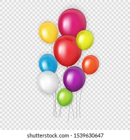 Group of Colour Glossy Helium Balloons Background. Set of  Balloons for Birthday, Anniversary, Celebration  Party Decorations. Vector Illustration EPS10