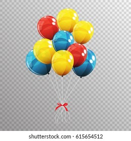 Group of Colour Glossy Helium Balloons Isolated on Transparent Background. Vector Illustration EPS10