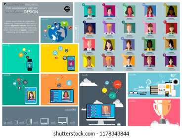 Group community Business man, Lady,Contact communicate- Social Network Technology-Smart watch, Cellphone,Tablet ,Laptop,Computer,icon,Cloud,Earth - Illustration modern  Business Steps Infographics.