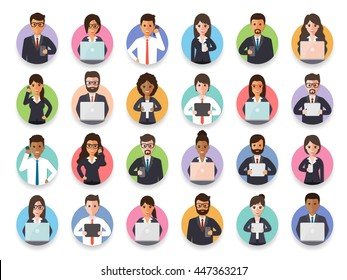 Group of connecting businessman and businesswoman via social network with gadgets. Flat design people characters.
