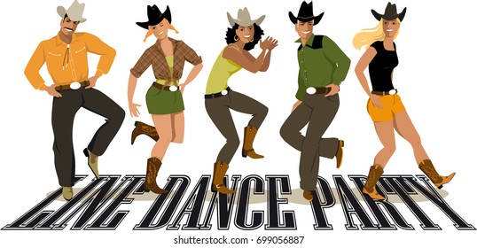 Group of cowboys ans cowgirls in western country clothes dancing line dance, EPS 8 vector illustration