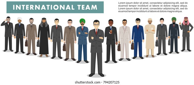 Group of creative people isolated on white background. Set of diverse business people standing together. Different nationalities and dress styles. Cute and simple in flat style.