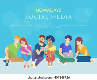 Group of creative people using smartphone, laptop and tablet pc sitting on the floor and talking each other. Flat concept illustration of creative thinking and working with modern electronic devices