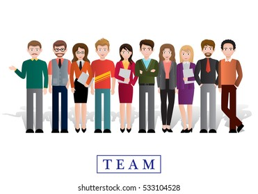 Group of creative people, vector illustration. Modern design. Office staff standing together happy. infographic of friends, human population, citizen and neighbourhood.