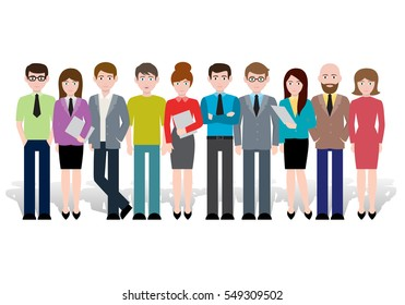 Group of creative people, vector illustration. Modern design. Office staff standing together happy. Vector infographic of friends, human population, citizen and neighbourhood