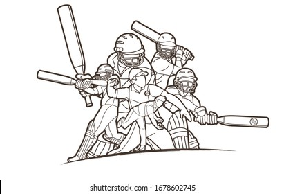 Group of Cricket players action cartoon sport graphic vector.