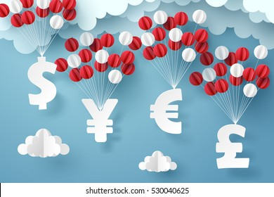 Group of currency sign hanging with colorful balloon, business and finance concept and paper art idea, vector art and illustration.