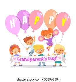 Group of cute cartoon children celebrating grandparents day.Happy grandparents day. Vector illustration