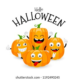 Group of cute cartoon pumpkin character design. Happy Halloween day concept. Vector illustration isolated on white background.