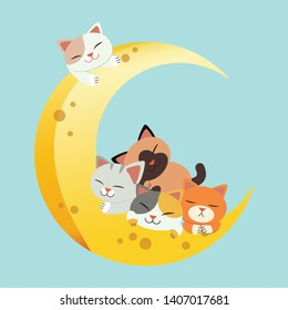 a group of cute cat grasp the moon. The cat sitting  and it look happy. The cat sitting and smiling on the Crescent moon.The character of cute cat in flat vector style