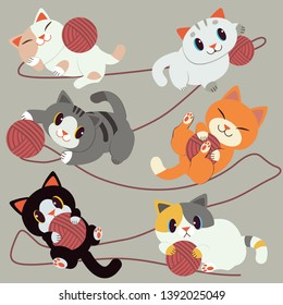 a group of cute cat playing with the red yarn on the backgroud. The red yern wrapped a cat. The cat look relaxing and happy.They are smiling. cute cat in flat vector style