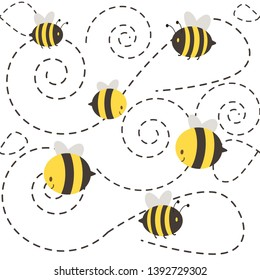 a group of cute chatacter bee flying on the white background. The shape of dashed look like spiral. have yellow bee and black bee in the frame. a cute character of bee in flat vector style