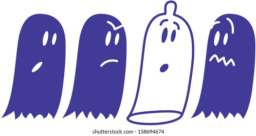 A group of cute ghosts reacting with surprise, fear and indignation when finding a condom among them which pretends to be one ghost more and when feels discovered acts as if nothing was wrong
