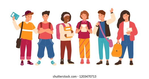 Group of cute happy children or pupil isolated on white background. Smiling funny school kids or teenage boys and girls, classmates or friends standing together. Flat cartoon vector illustration.