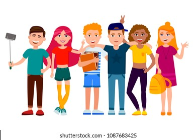 Group of cute happy teenagers having fun, standing together with gadgets, backpacks and books. School students. Set of young people in cartoon style vector flat illustration isolated on white.