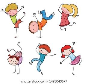 Group of cute kids,drawing sketch