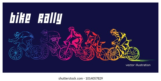 Group of cyclist in the bicycle race. For poster, banner, t-shirt design and other design.