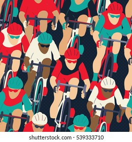 Group of cyclist in the bicycle race seamless pattern. Sport illustration