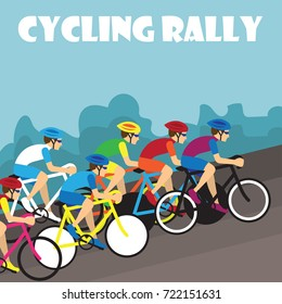 group of cyclist at professional race for bike rally event. vector illustration
