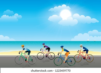Group of cyclist riding on the road with scenery of seaside and summer beach landscape background. Vector illustration of cycling sport concept