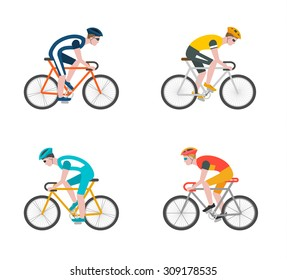 The group of cyclists man in bicycle race. Set of icons of bicycle riders isolated on white background in flat style. Vector illustration of speed bike racing .Concept of sport life, bikers, bicycling