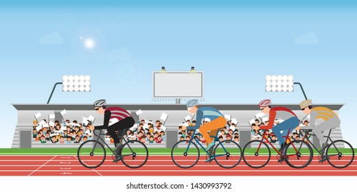 Group of cyclists man in road bicycle racing on athletic track with crowd in stadium grandstand to cheering sport, vector illustration., Vector illustrator.