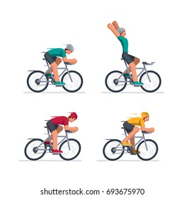 Group of cyclists in road racing. Isolated on white. Vector illustration