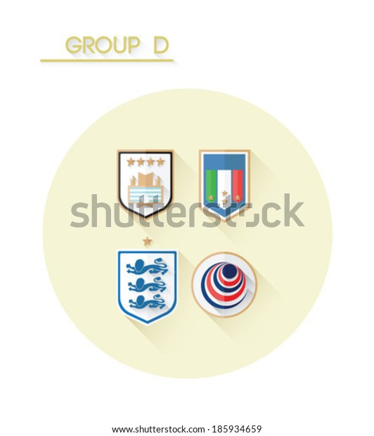 Group d with country crests on white background