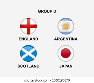 group D of nation flag in badge icon. Concept for team that qualified to final round of women soccer or sport tournament. Vector illustrative