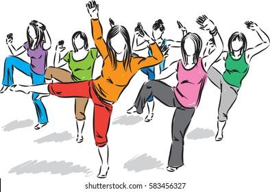 GROUP OF DANCERS FITNESS ILLUSTRATION