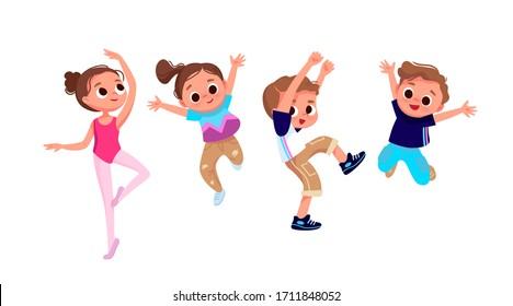 Group of dancing children. Creative kids. Dancing studio. Jumping boy. Ballet elements.