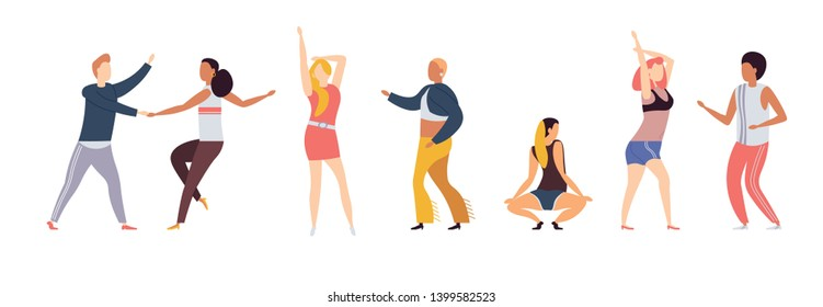 Group of dancing girls and boys, stylish dressed young people. Male and female characters isolated on white background. Men and women enjoying dance party. Flat cartoon vector. Colorful illustration