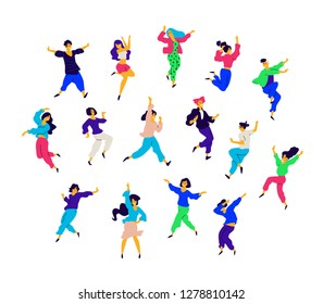A group of dancing people in different poses and emotions. Vector. Illustrations of men and women. Flat style. A group of happy teenagers are dancing and having fun. Figure for packaging. Dance studio