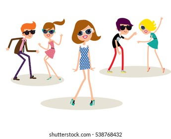 Group of the Dancing young people wearing retro style clothes. Twist dance. Vector illustration.