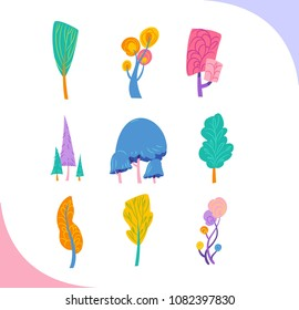 Group of decorative fantastic trees from fairytale.