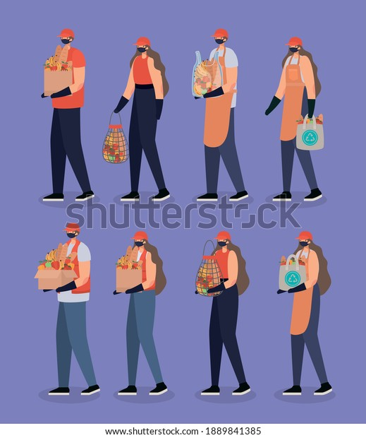 group of delivery men and women icons vector illustration design