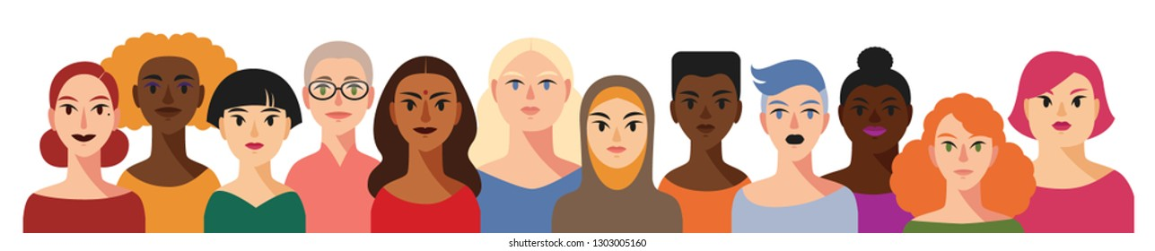 Group of different beautiful races women together isolated on white. International women's day. We are women. Sisterhood. Girl power illustration. Girls support girls poster.