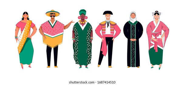 Group of different ethnicity, multiracial people, vector illustration isolated.