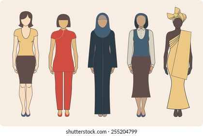 Group of different nationalities women wearing traditional clothes