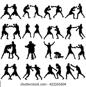 Group of different poses of boxer players vector silhouette isolated on white background. Direct kick. Clinch, knockout, hook... Sparring on training. Sparing duel.