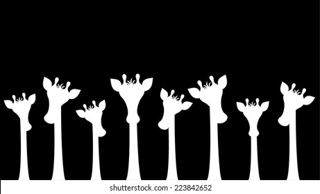 Group of different sizes cute giraffes peeking. you can see only the head and neck of giraffe. cartoon graphic design, vector art illustration. black silhouette isolated on white background