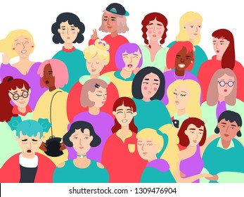 Group Of Different Stylish Fashionable Modern Women Flat Vector Art Illustration Isolated On White Background. International Women's Day 8th March